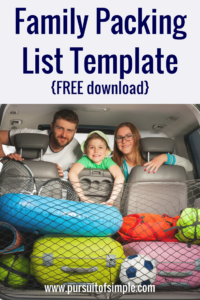 Family Packing List Template