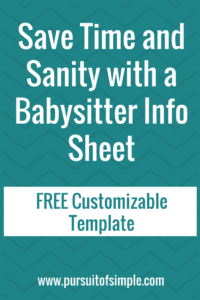 Save Time and Sanity With a Babysitter Info Sheet