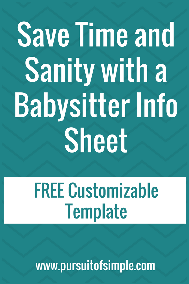 save time sanity with a babysitter info sheet free download